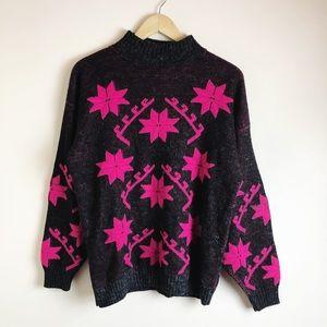 Vintage Women's Mock Neck Snowflake Sweater